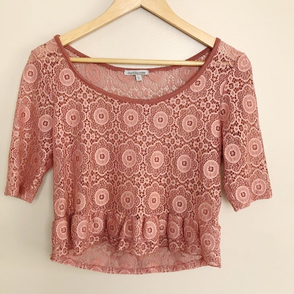 a48c64eaa98 Charlotte Russe Tops | Lace Crop Top Ruffle Pink Sheer M | Poshmark